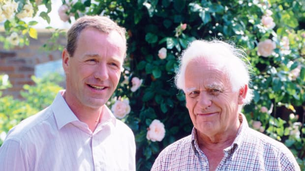 English rose hybridizer David C.H. Austin and his son David J.C. Austin, principals of David Austin Roses Ltd, Albrighton, UK. Photo Credit: DavidAustinRoses.com
