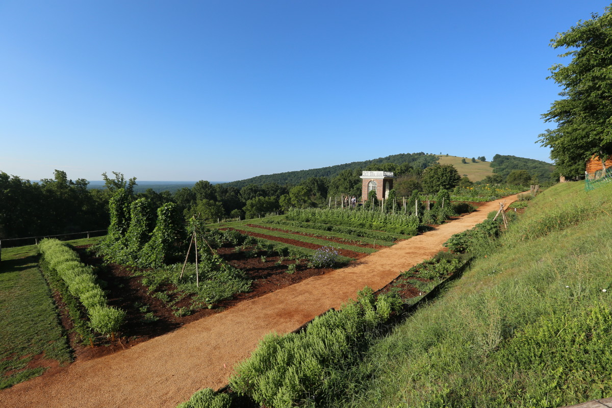 Here, Thomas Jefferson's Monticello, with its mountaintop garden delivers breathtaking views out beyond its tidy rows of edibles.
