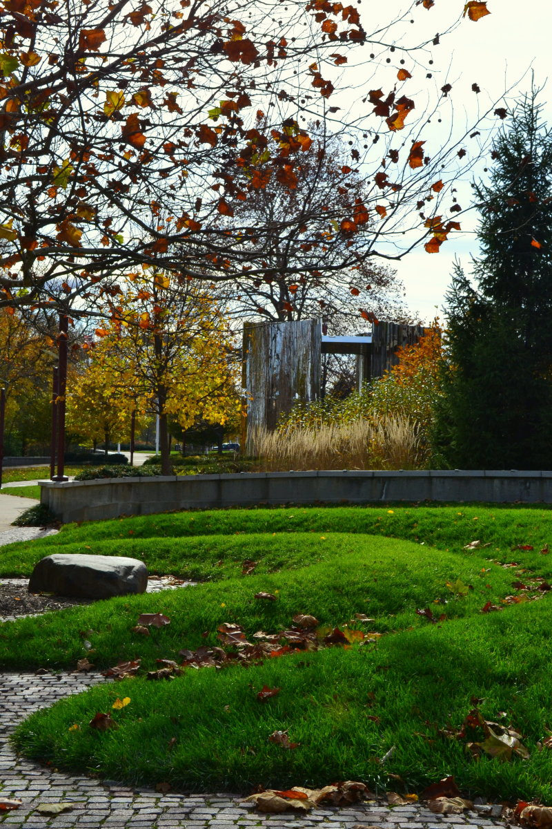 Earthen works add a feeling of timelessness to the park.