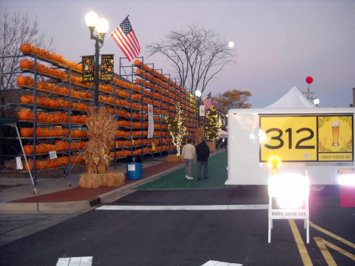 Pumpkins on scaffolding in the center of town
