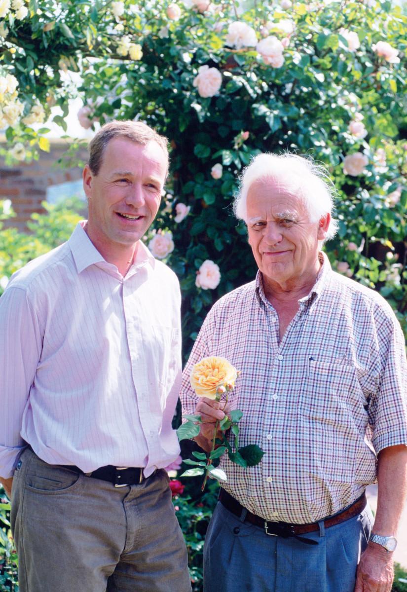 English rose hybridizer David C.H. Austin and his son David J.C. Austin, principals of David Austin Roses Ltd, Albrighton, UK. Photo Credit: DavidAustinRoses.com