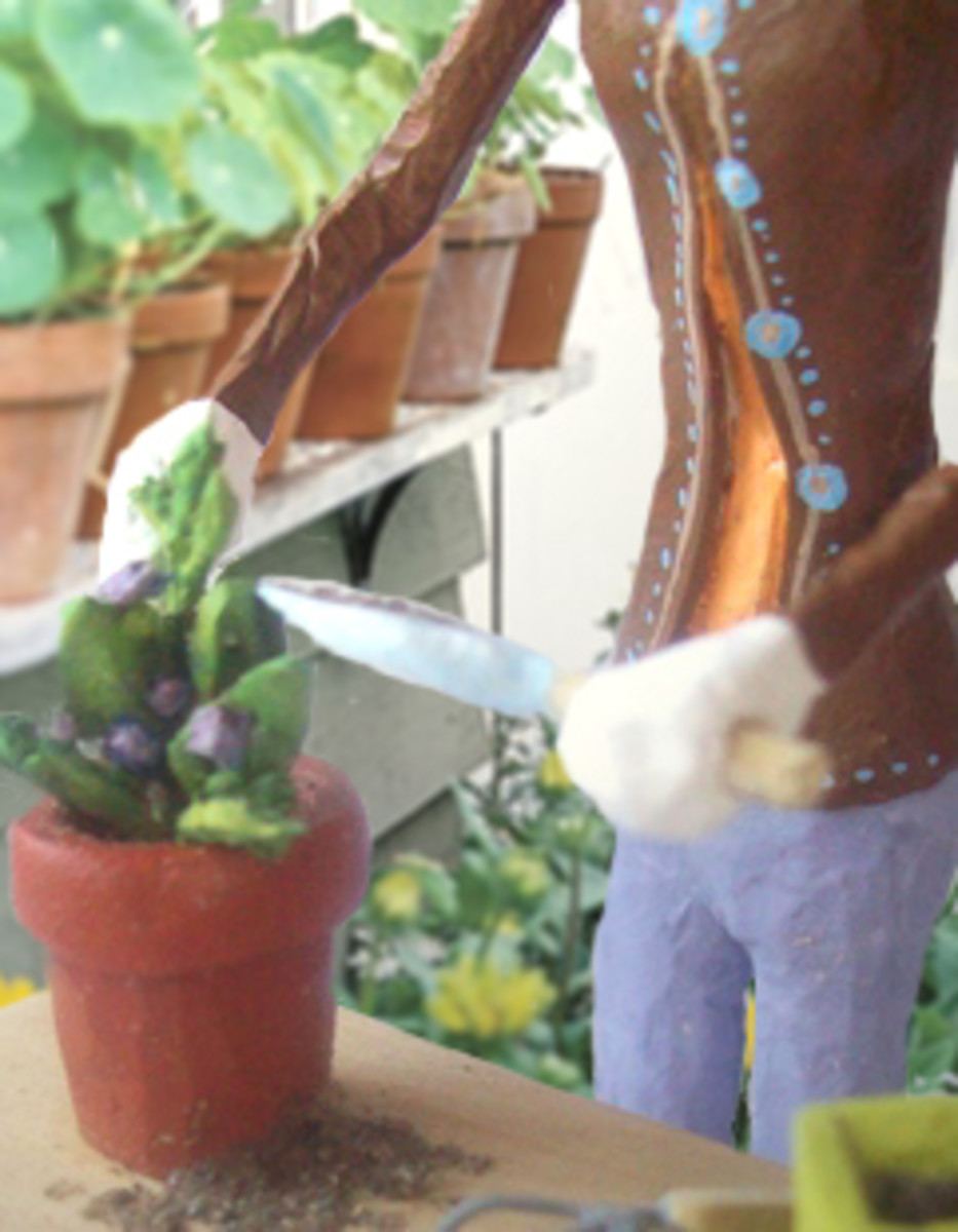 Mrs. Livings Potting Flowers - Detail
