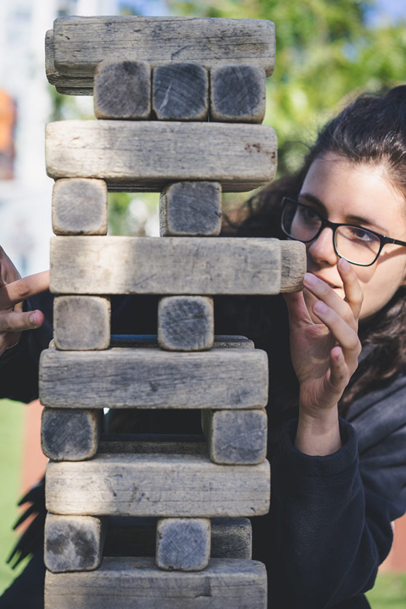 Big blocks make for a giant Jenga-style game for the garden.