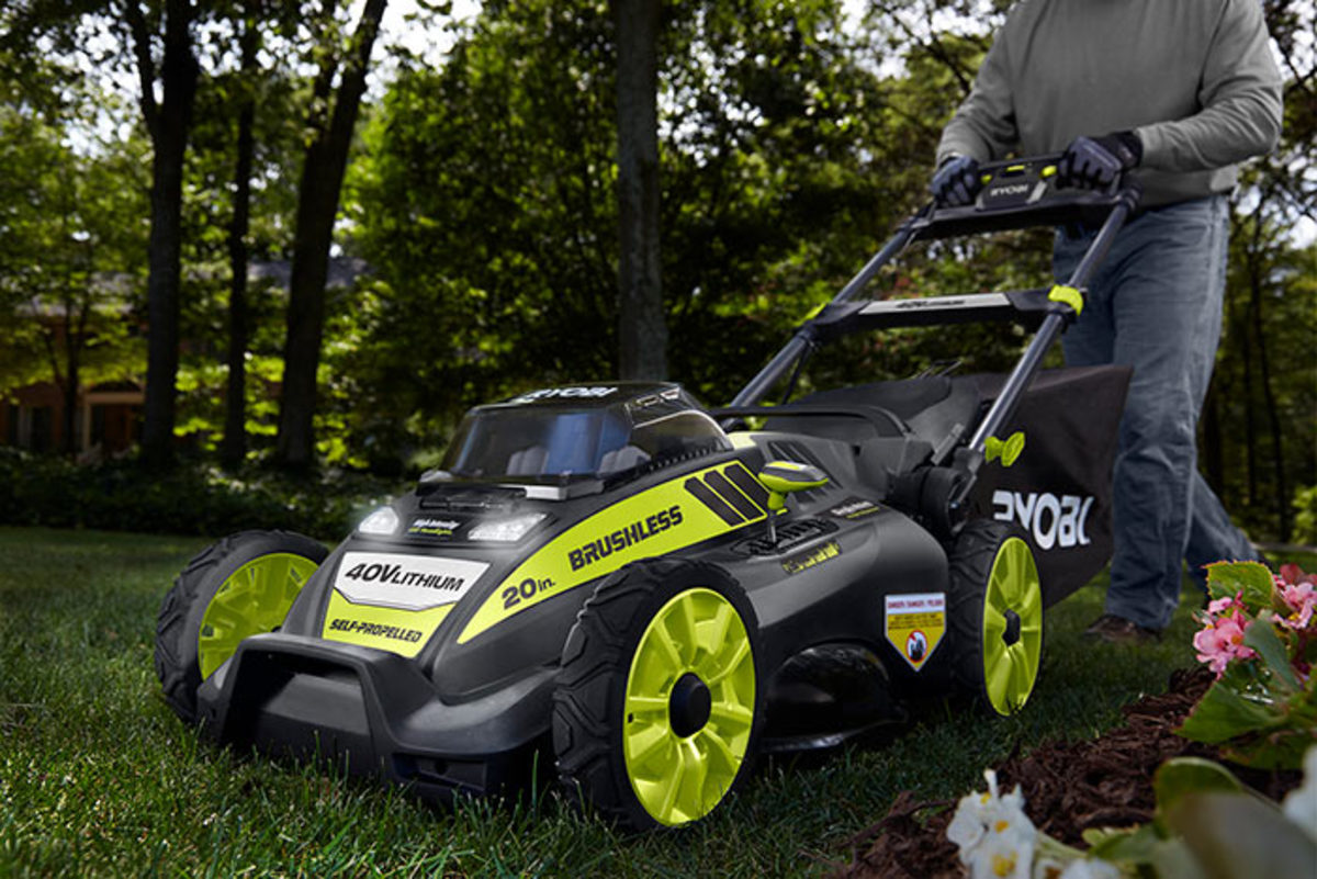Battery-run mowers, like this one by Ryobi, require less maintenance than gas versions and many users find them more pleasant to operate.
